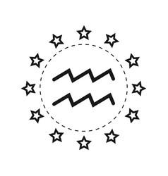 Aquarius sign of the zodiac flat symbol vector