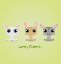 Cute funny lovely rabbits vector image vector image