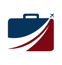 Luggage and aeroplane travel logo vector