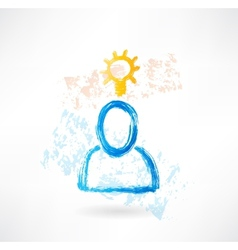 Person with lamp grunge icon vector image vector image