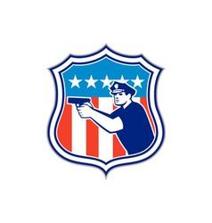 Policeman With Gun American Flag Shield Retro vector image vector image