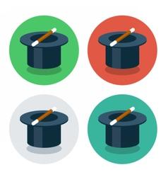 circle flat icon magic hat vector image
