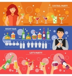Cocktail Party Night Bar Flat Banners vector image