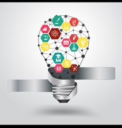 Creative light bulb idea with science icon vector image