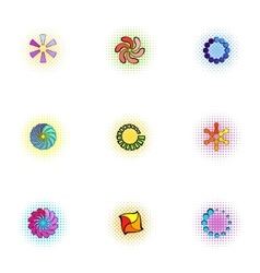 Download page icons set pop-art style vector image