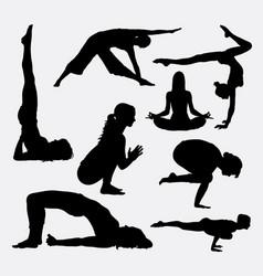 female yoga sport silhouette vector image
