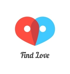 Find love mark with transparent pins vector