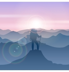 Man stands on the mountain peak travel man vector image