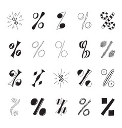 set of hand drawn percent signs vector image vector image