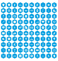 100 athlete icons set blue vector