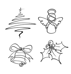 4 christmas single line icons vector