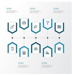 Architecture outline icons set collection of house vector
