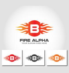 B alphabet fire logo design concept vector