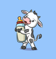 Baby cow is standing and holding vector