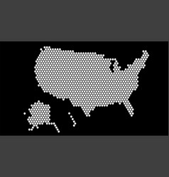 black and white hexagonal pixel map usa united vector image