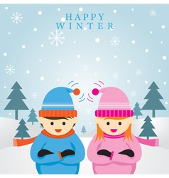 Boy and girl in winter season background vector