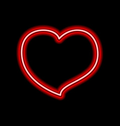 bright heart neon sign retro neon heart sign on vector image