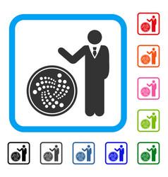 Businessman show iota coin framed icon vector