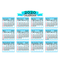 calendar 2020 design on white background vector image