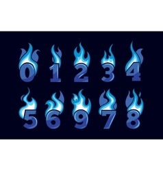Cartoon icons set of blue Flaming Numbers vector