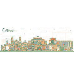 Catania italy city skyline with color buildings vector