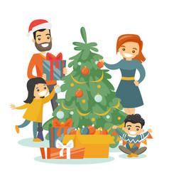Caucasian family decorating christmas tree vector