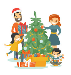 Caucasian family decorating the christmas tree vector