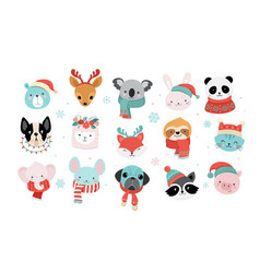 Collection christmas cute animals merry vector