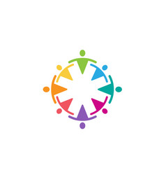 colorful abstract people circle team logo vector image