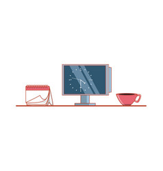 computer monitor with clock in display and objects vector image