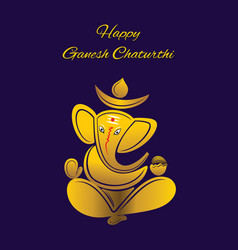 creative poster of golden color ganesh chaturthi vector image