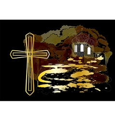 cross and church vector image