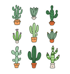 Cute cactus cartoon characters collection vector