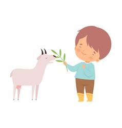 Cute little boy feeding goatling adorable kid vector