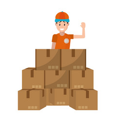 delivery guy with boxes vector image