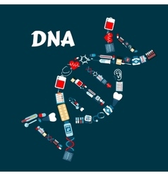 Dna formed healthcare or medicine icons vector