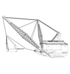 Dragline walking excavator vector