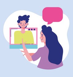 Education online teacher with boy class virtual vector