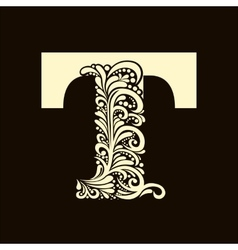 Elegant capital letter T in the style Baroque vector image