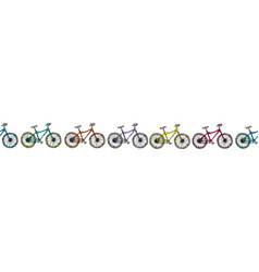 Endless pattern brush or ribbon of bicycles bike vector