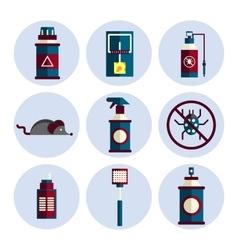 Exterminator service flat icons set vector
