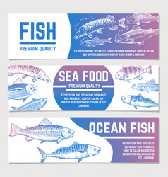 Fish banners river and ocean sketch fishes vector