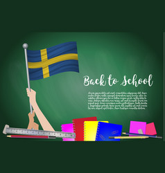 flag of sweden on black chalkboard background vector image