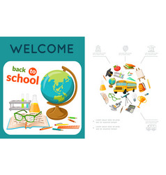 flat education colorful composition vector image