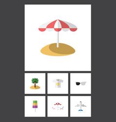 Flat icon season set of recliner sundae coconut vector