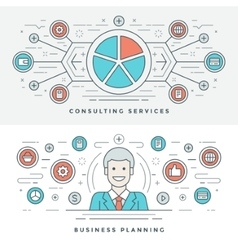 Flat line Business Planning and Consulting vector
