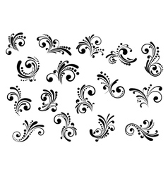 Floral motifs and design elements vector image