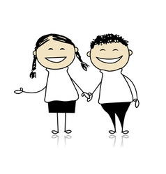 Funny couple laugh - boy and girl together vector image