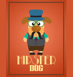 Funny hipster dog vector
