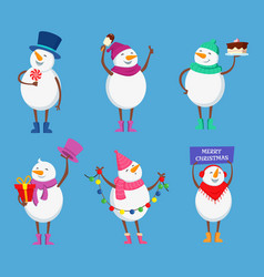 funny snowmen in different action poses cute vector image vector image